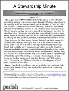 Click the Image To See <br> This Month's Stewardship Minute